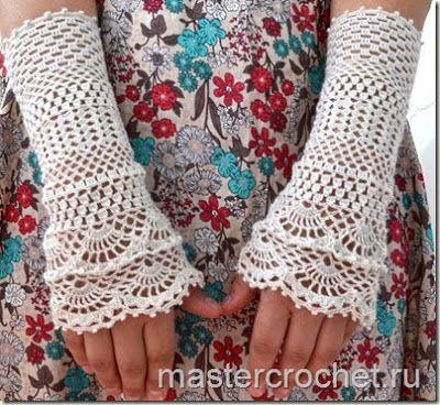 ergahandmade: Crochet Gloves + Pattern Step By Step + Diagram