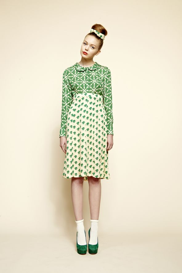 Blouse in Green Fish, Skirt in Small Bonsai, Belt in Small Bonsai.  Click here to find your nearest stockist:  http://www.charlottetaylorltd.com/#stockists_6  #charlottetaylor