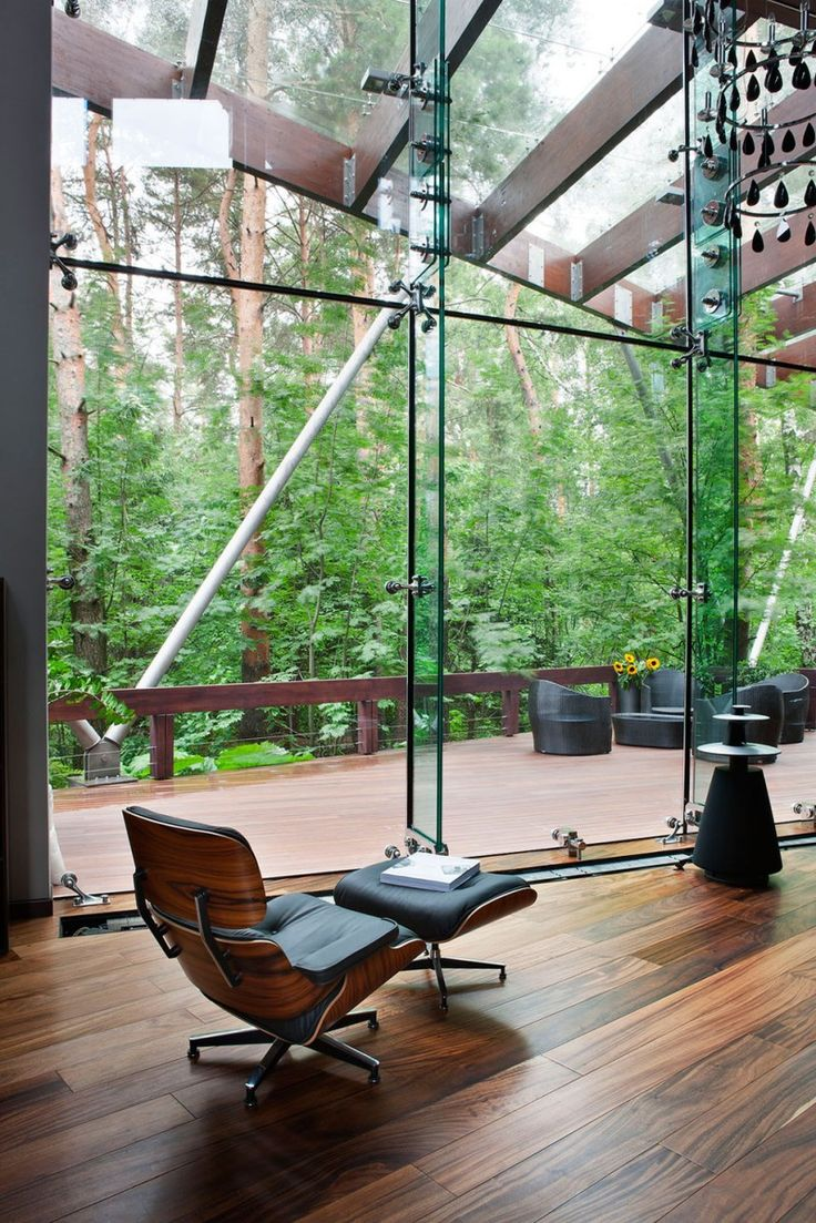 Beautiful Elegance Home Decor with Wooden Ideas: Eames Lounge Chair Contemporary House Wooden Floor Glass Wall ~ sabpa.com Contemporary Home Design Inspiration