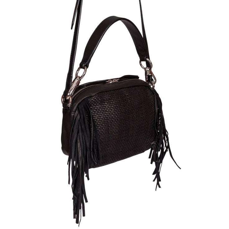 CARAH S - Borsa piccola in pelle modello zip around in pelle intrecciata e frange laterali #leather #bags