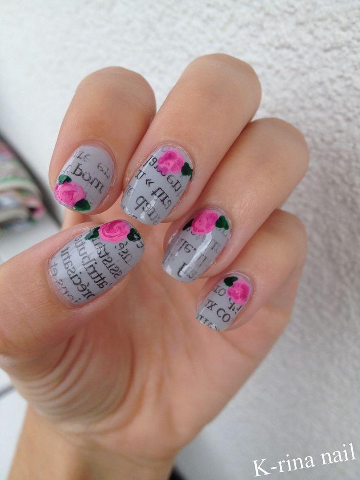 J'ai associé 2 nail art, le motif journal et les roses, pour en faire 1 seul.