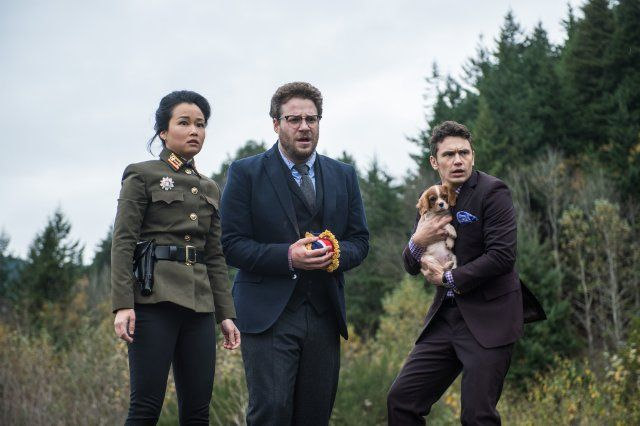 Still of James Franco, Seth Rogen and Diana Bang in The Interview (2014)