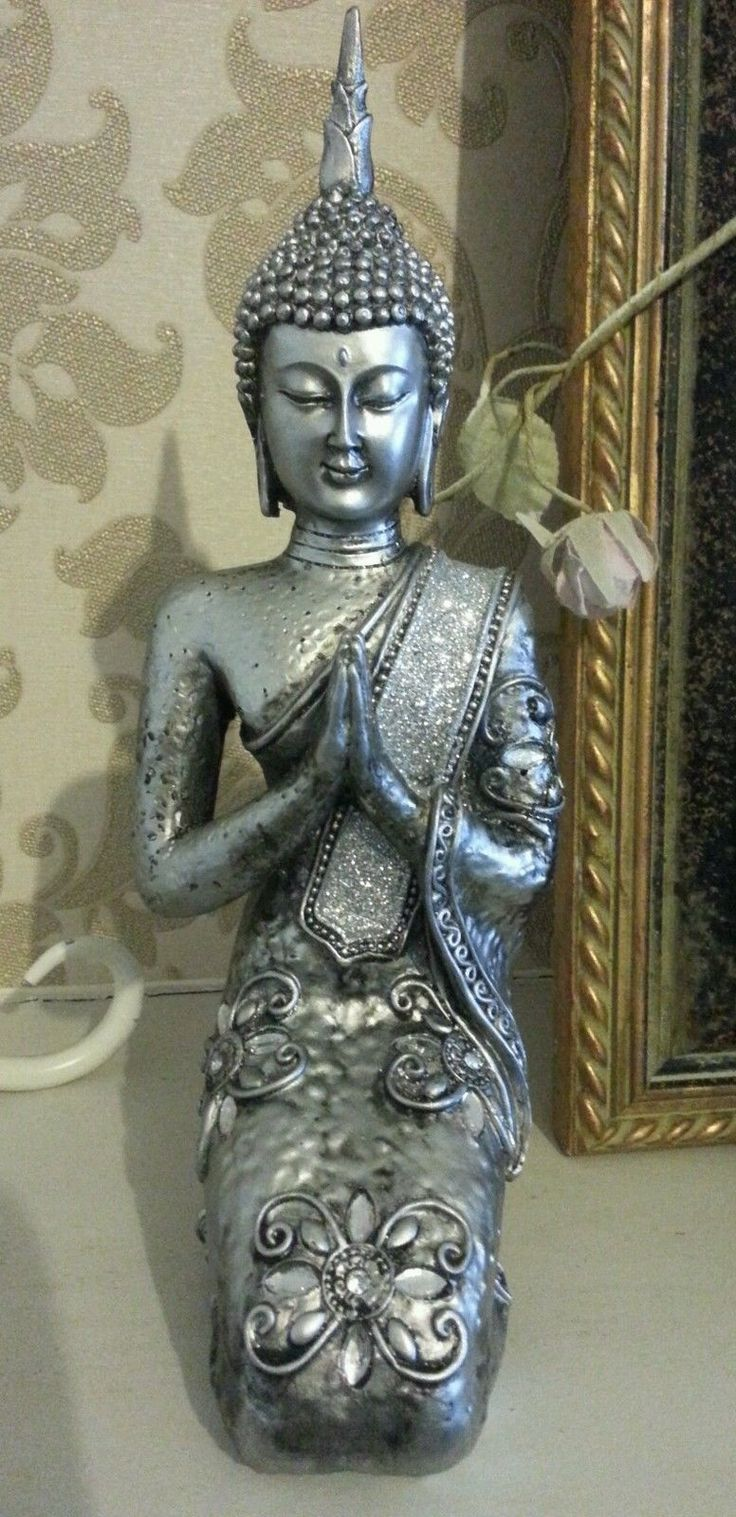 Large Buddha Statue Silver Sparkle Kneeling Peaceful Preying Ornament Sitting  uk.picclick.com