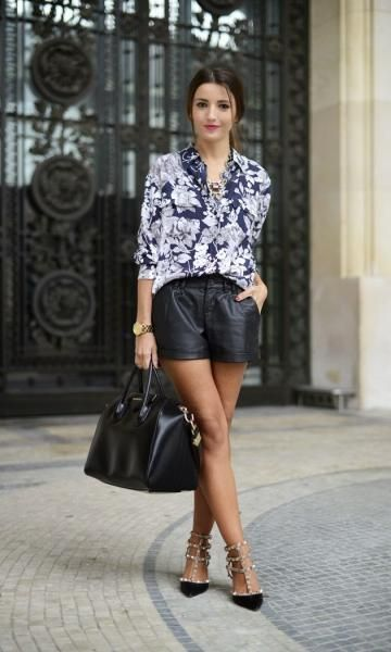 Look: Camisa & Shorts de Couro - Moda it | Moda It