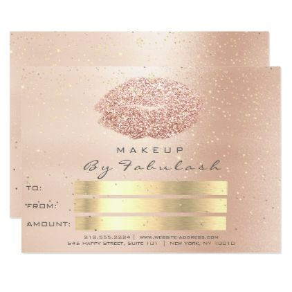 Pink Rose Gold Confetti Gray Makeup Lips Gift Card - invitations custom unique diy personalize occasions