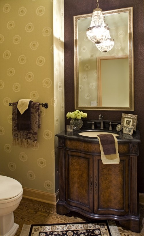 The mirror is wrong and needs decoration, but I love the feel of this for a small bathroom. ELEGANT!