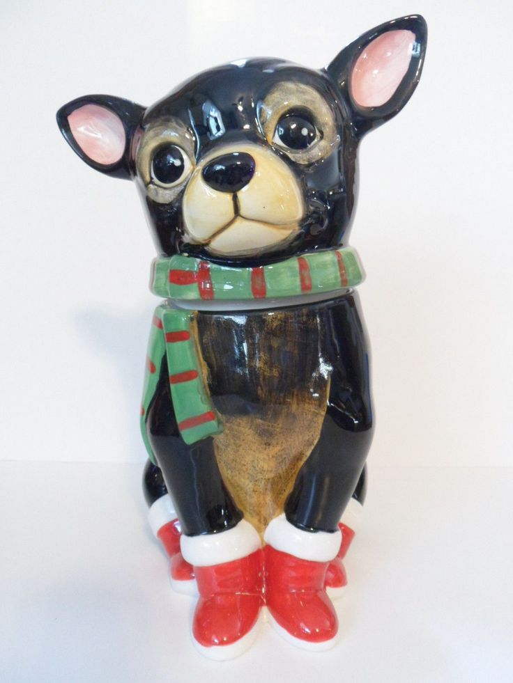 2015 Ceramic Holiday Christmas Cookie Jar CHIHUAHUA DOG.