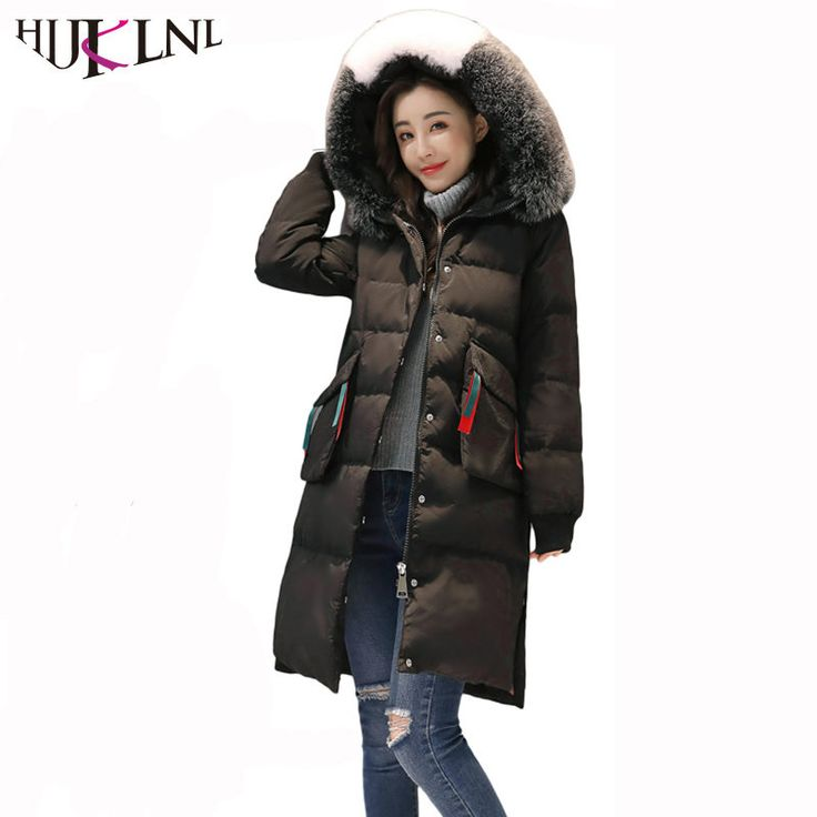 HIJKLNL 17 Fashion Women Down Jacket Parka Winter Long Hood Fur Collar Feather Down Jacket Windbreaker camperas de pluma QN473