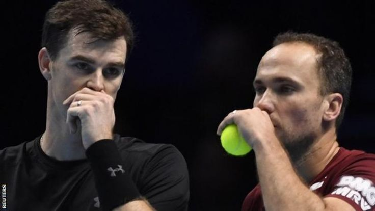 Jamie Murray and Bruno Soares have won the Australian and US Opens this year  Britain's Jamie Murray and Brazilian Bruno Soares will end the year as the number one doubles team in the world.  French pair Pierre-Hugues Herbert and Nicolas Mahut saw their number one ranking challenge end with defeat at the ATP World Tour Finals on Friday.  They lost 6-7 (5-7) 6-4 10-4 to Henri Kontinen and John Peers in their final group match in London.  Herbert and Mahut, failed to reach the semi-finals