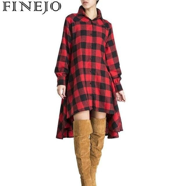 Dress Women Casual Plaid Long Sleeve Button Irregular Hem Shirt Casual Street Outdoor Lantern Winter Dress
