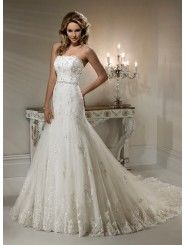 Lace Scalloped Neckline A-line Wedding Dress