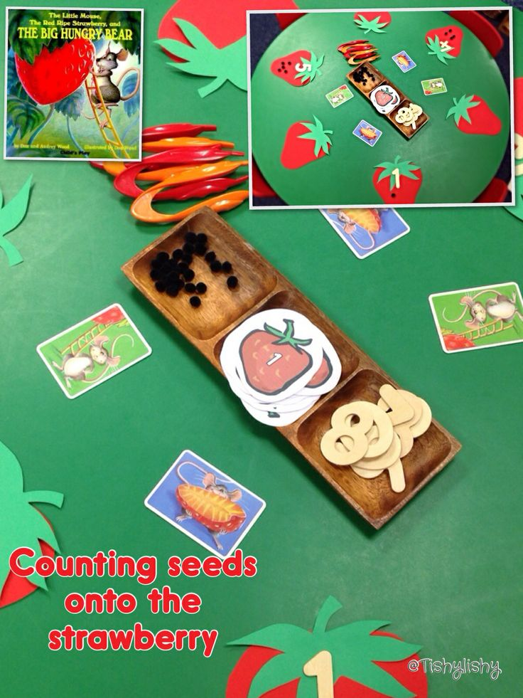 """Counting seeds on the strawberry. FMC and number activity based in the book """"The little mouse, the red ripe strawberry and the big hungry bear."""""""