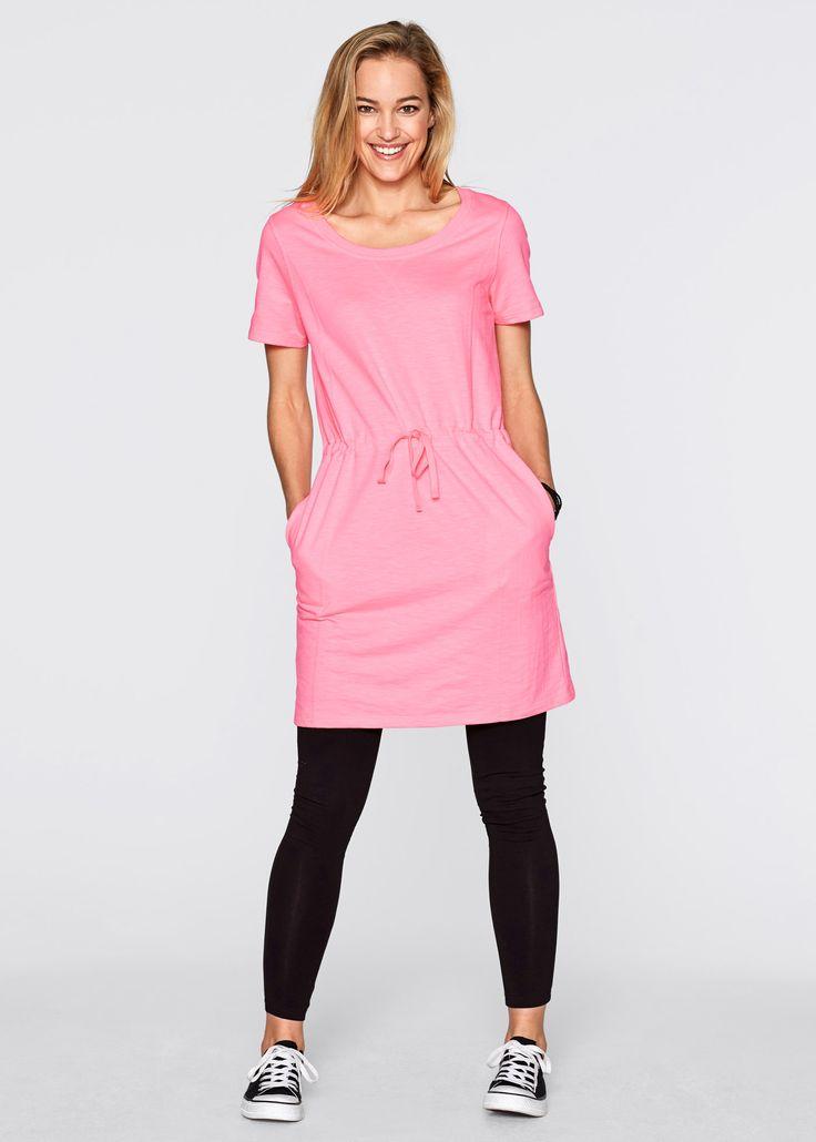 Sweat- Kleid, 1/2 Arm, bpc bonprix collection, neonrosa meliert