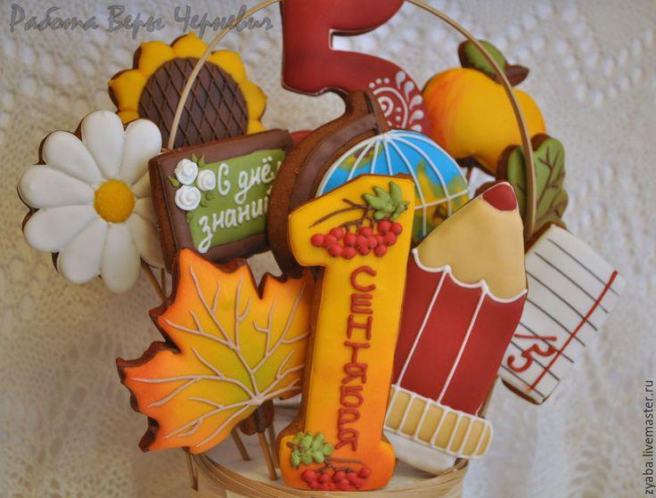 Купить Букет учителю - пряники на 1 сентября и день учителя - пряник, расписные пряники
