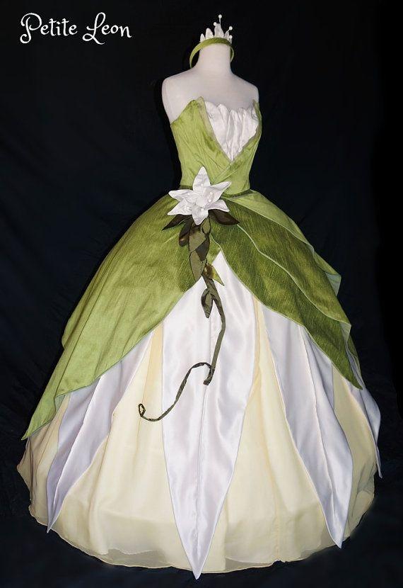 Princess Tiana Costume Green Ballgown Dress Custom by Petiteleon