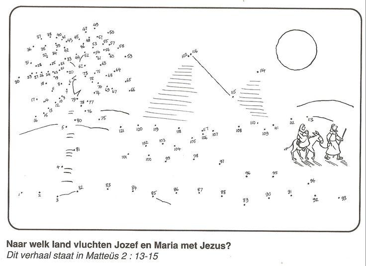 Jozef vlucht met Maria en Jezus naar Egypte van stip naar stip
