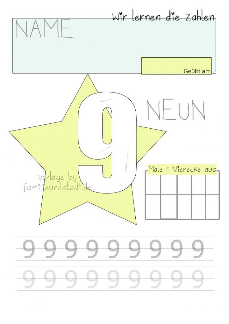 Druckvorlage Zahlen schreiben lernen