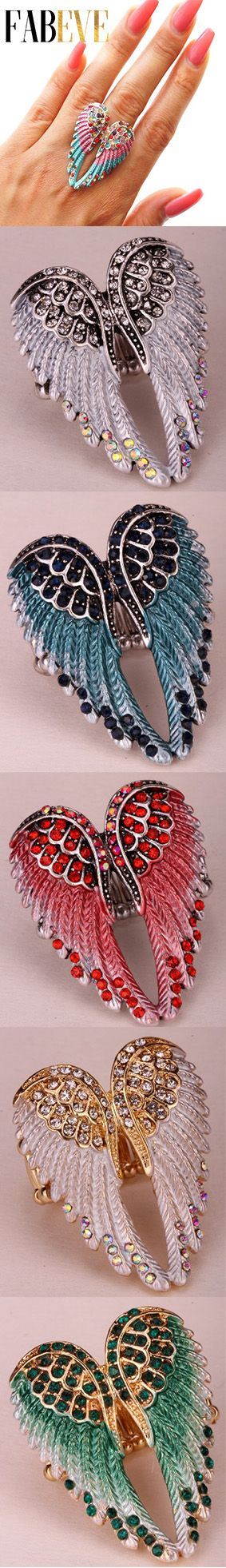 Stunning angel wings stretch ring!