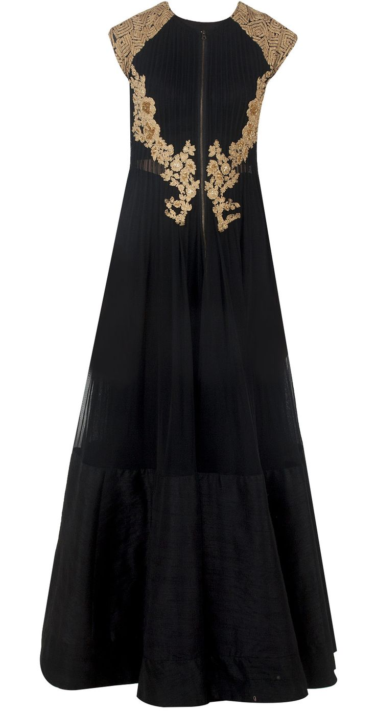 Black zipper anarkali jacket available only at Pernia's Pop-Up Shop