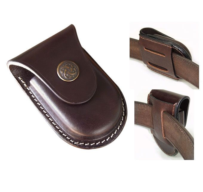 Australian Made Leather watch pouch with clip. Horizontal or Vertical positioning.