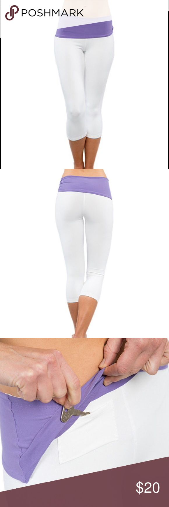White Capri leggings! Completely curve complementing capris. Moisture-wicking properties and four-way stretch fabric ensure comfort is never compromised, while flat-lock, chafe-free seams offer long, lean leg contouring. The asymmetrical, shirred waistband slims the waistline, and the vented gusset ensures breathability and free range of motion. Plus, a hidden back pocket sneakily stores small necessities. * 19'' inseam * Self: 87% Supplex nylon / 13% Lycra spandex * Lining: 57% polyester…