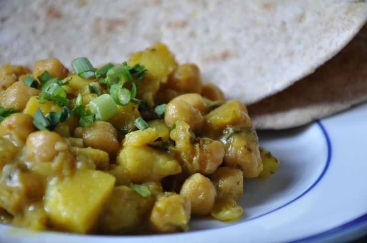 Trinidadian chickpea and potato curry from hide the cheese blog. Learn to make it with Roti. Saw something like it on Dives, Drive-ins, and Diners of all places...3 stars