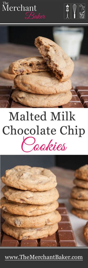 Malted Milk Chocolate Chip Cookies. A soft, dense, delicious cookie flavored with just a hint of cocoa and then mellowed with malt. #cookies #maltedmilk #chocolate #chip