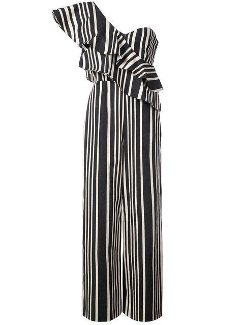 03a3cbd1d2be Shop Alice Olivia striped one shoulder jumpsuit