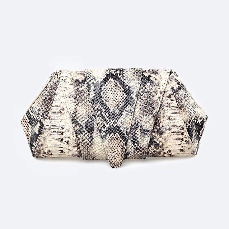 Roccia Python Clutch Bag by SOKA