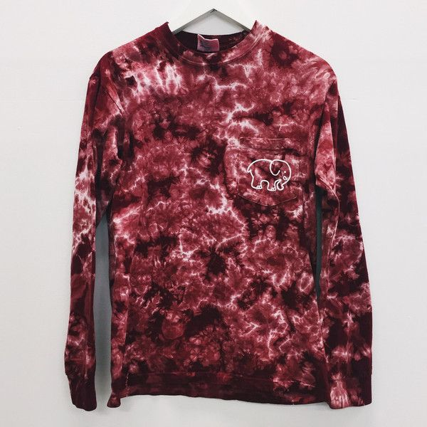 Pocketed Maroon Acid Wash Tie-Dye Classic Print ($185,000) ❤ liked on Polyvore featuring tops, elephant print top, cotton shirts, red long sleeve shirt, red long sleeve top and print shirts