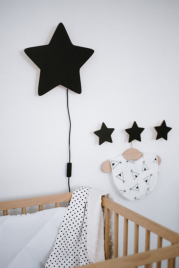 Wooden Black Star Nursery Nightlight Baby Night Light Nursery Night Light Star Nursery