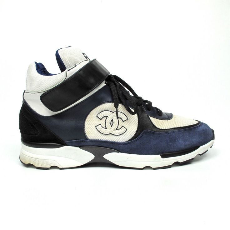 CHANEL MENS SNEAKERS US 12 - 45 - TRAINERS BLUE WHITE BLACK HIGH TOP CC SHOES