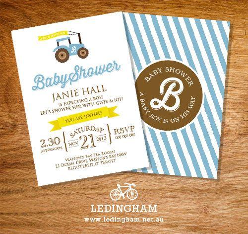 Tractor Baby Shower/Christening Invitations by LedinghamShop