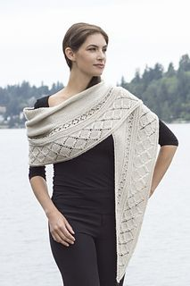 This shawl is a crescent-shaped shawl with a Garter stitch body and 2 bands of lattice lace at the bottom edge — a narrow band of small lattice lace, followed by a wider band of large lattice lace. Both lace bands are set off from the Garter stitch background by ridges of Double Garter stitch.