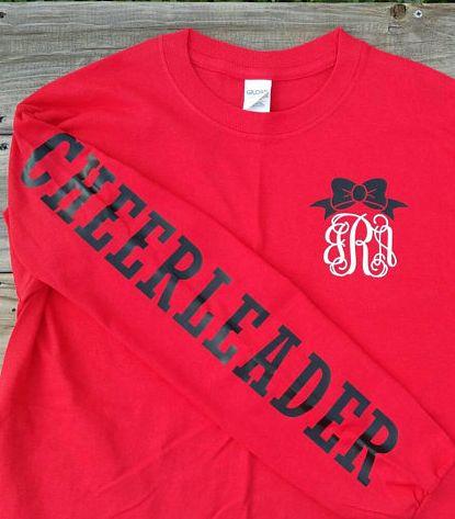 $18  Long Sleeve Monogram Cheerleader Jersey Shirt / Varsity Cheerleader Spirit Shirt / Cheer Monogram Shirt