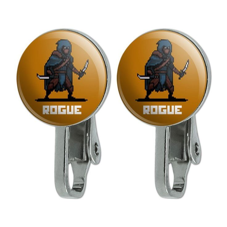 8-Bit Pixel Retro Rogue Thief Assassin Games Rpg Novelty Clip-On Stud Earrings