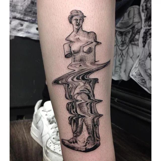 Glitch Greek statue tattoo by Max Amos. #MaxAmos #blackwork #glitch…