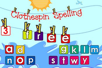 FREE from David on TpT. Clothespin Spelling Version 1.1 is a fun time-filler! (Now comes with a guide!) Say you have 10 extra minutes...what to do? Well, click on Clothesp...