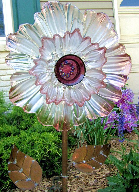 plate flower glass flower garden art yard art garden