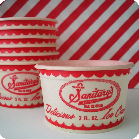 red and white vintage ice cream cups