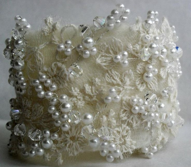 HANDMADE BRIDAL VINTAGE LACE FABRIC CRYSTAL CUFF.   ---- Ok, so what about sheer long gloves with the 'cuff part up high on the part that goes by your shoulder??!