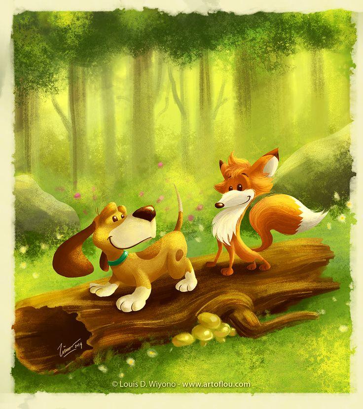 Tod And Copper - by Louis D. Wiyono, Wizmaya Design Studio  #Disney #illustration #art