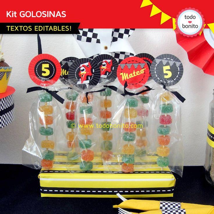 Geniales decoraciones de autos de carrera para imprimir y decorar tu fiesta.