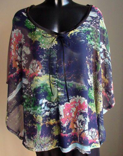 NEW-Handmade-designer-Cape-Poncho-CHIFFON-Fall-Bright-colors-1-size