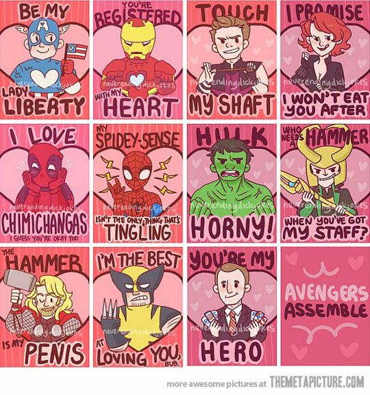 Avenger's Valentines… Captain America and Phil are all sweet and everyone else is basically using innuendos... :3