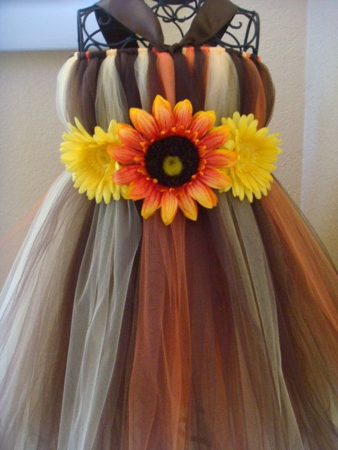 Fall tutu dress with 3 with sunflowers by raelei on Etsy, $40.00