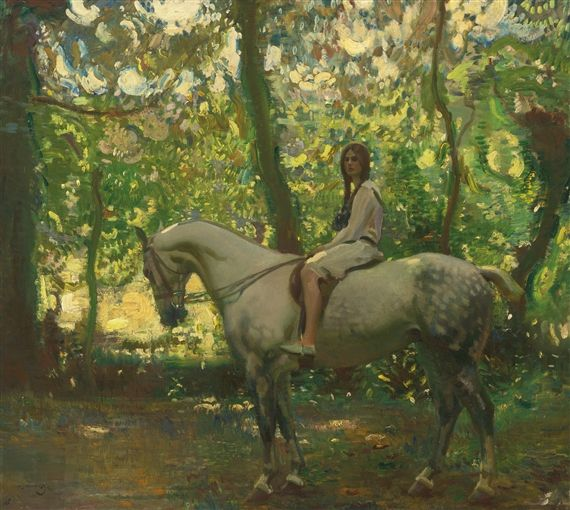 Sir Alfred James Munnings - MARJORY (GIRL ON...