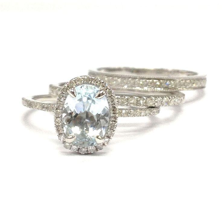 Oval Aquamarine Engagement Ring Trio Sets Pave Diamond Wedding 14K White Gold 6x8mm Milgrain