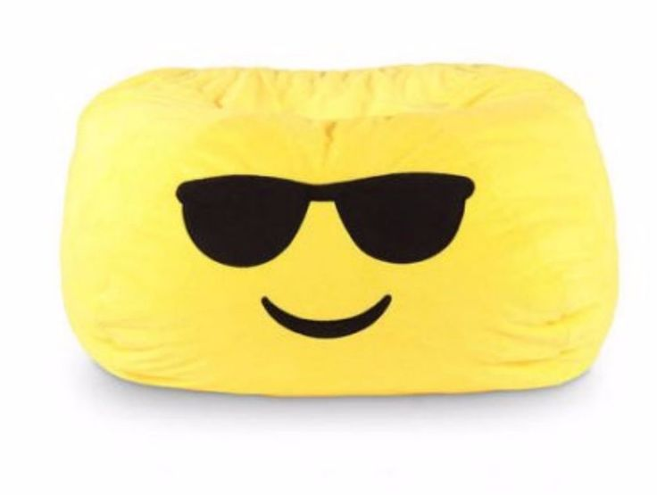 Bean Bag Chairs For Kids Adults Girls Boys GoMoji Emoji Cool Yellow Sunglasses #GoMoji
