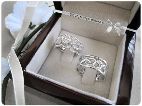 couples infinity knot wedding bands set engagement ring with wedding matching band 14k gold - Infinity Wedding Ring Set